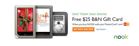 Nook Gift Card Where To Buy - 25 barnes noble gift card w nook purchase using mastercard 10 cash back