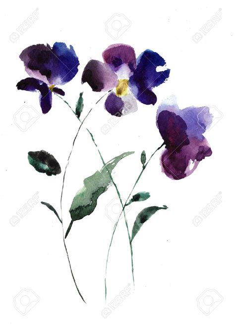 violet tattoos watercolor illustration of violet flowers stock photo