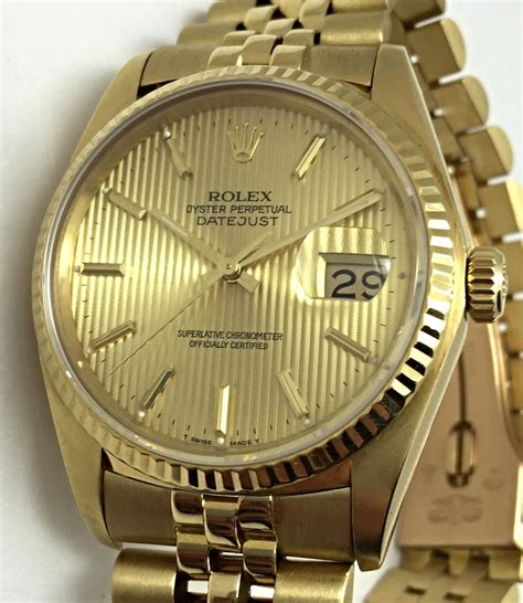used rolex datejust solid gold 18k sapphire oyster