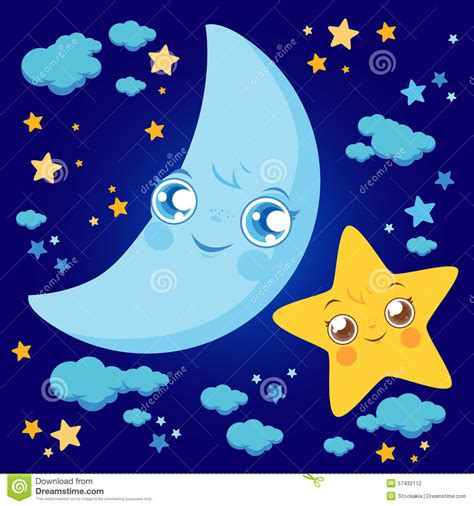 Lubna Syar I Free Ongkir moon and clouds stock vector image 57432112