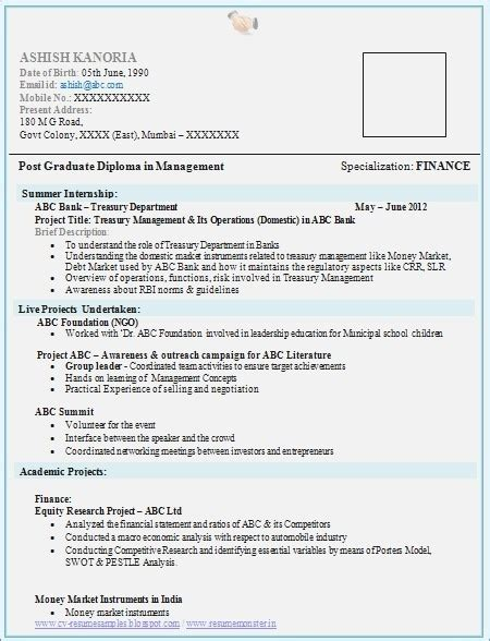 awesome resume format for mba freshers in finance sle resumes for freshers in finance resume corner