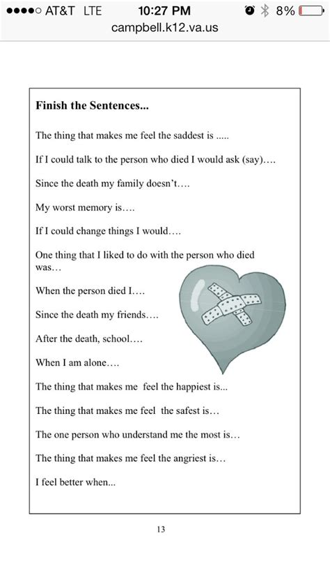 Grief Therapy Worksheets