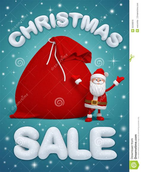 christmas sale santa claus 3d snow text royalty free
