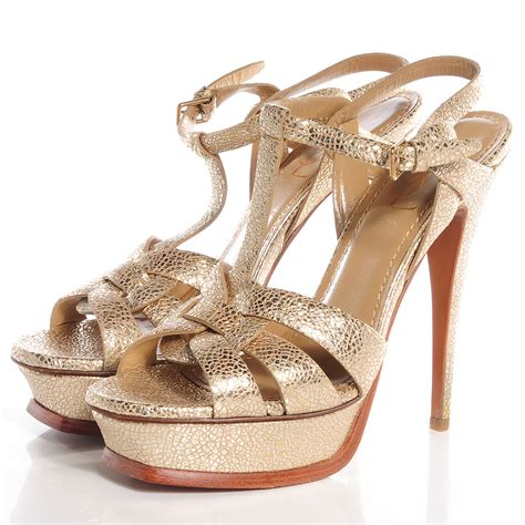 yves laurent metallic leather tribute 105 platform sandals gold 40 75266