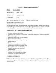Cover Letter For Custodial Supervisor Position House Cleaning Resume