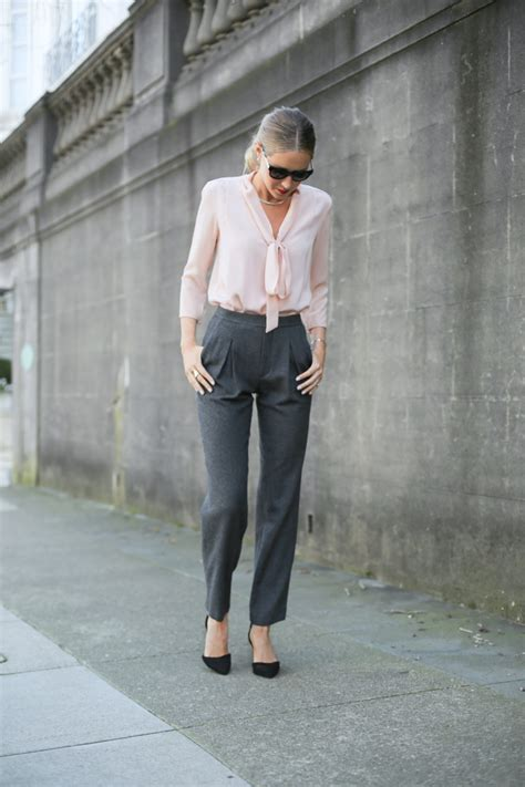 Of The Blogs Silver Plaid And The Wears Prada by Plaid Coat High Waisted Grey Wool Blush Tie Neck