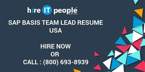 sap basis team lead resume hire it we get it done
