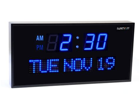 oversized led clock amazon com ivation big oversized digital blue led calendar clock with day and date shelf or