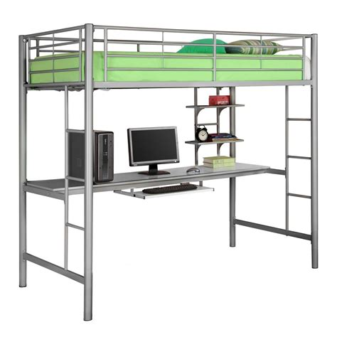 loft twin bed with desk metal twin over writing computer desk bunk bed silver