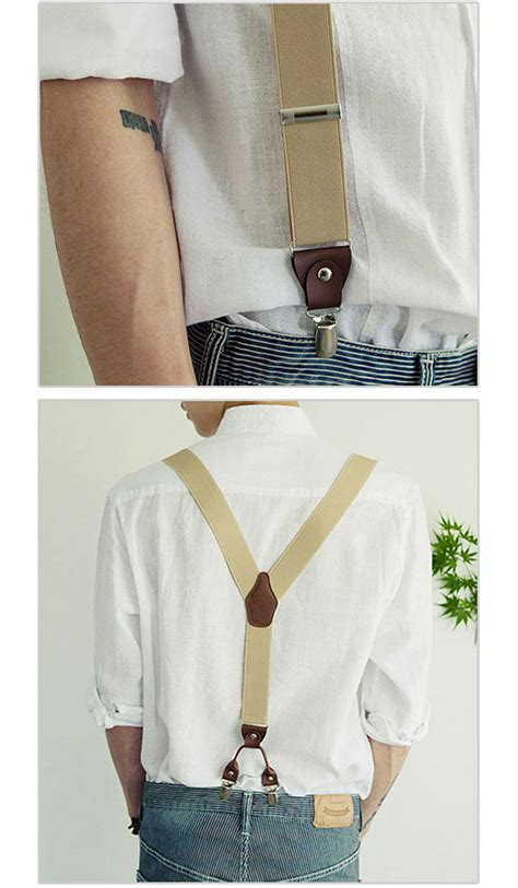 Po Dress Import High Quality Premium A42410 mens womens clip on suspenders leather elastic y shape adjustable braces belts ebay