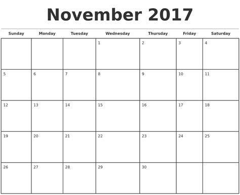 templates for monthly calendars november 2017 monthly calendar template