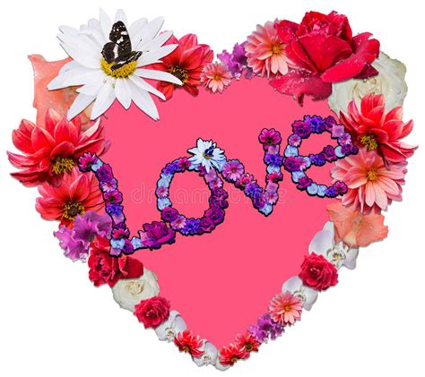love heart made of flowers beautiful heart with legend made of different flowers