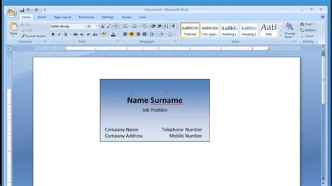 word 2007 business card template microsoft word and printing business card 1 2