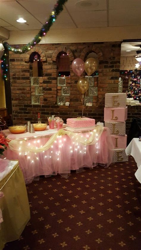 Baby Shower Table by Pink And Gold Themed Table For Baby Shower Baby Shower
