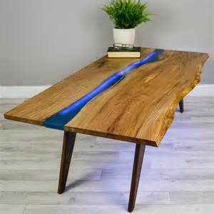 river resin elm coffee table on walnut base by frances