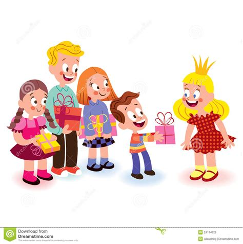 children giving gifts stock vector image of present