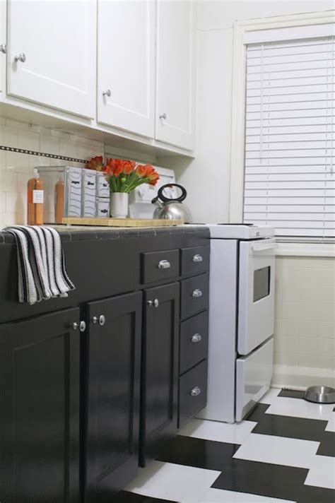 White Upper Cabinets Dark Lower Cabinets Vintage Kitchen Cabinets White Top Black Bottom