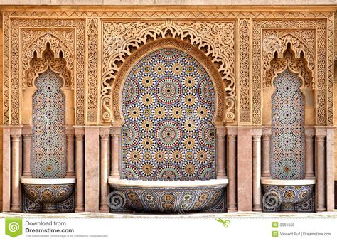 morroccan l moroccan tiled fountain stock photo image of source