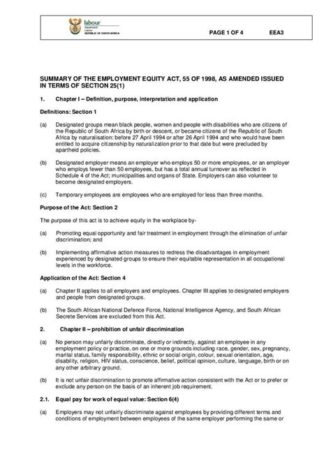 section 49 labour relations act eea 3 summary of the employment equity act 55 of 1998