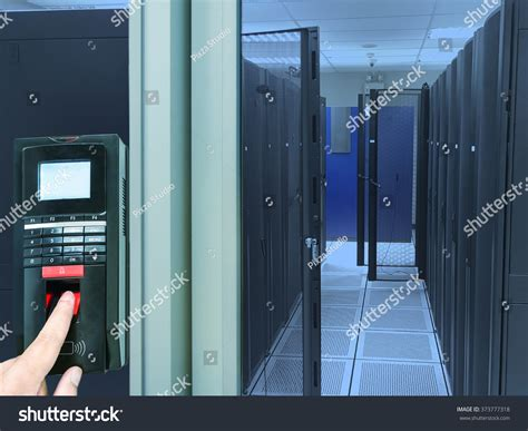 finger scan security entry server room stock photo