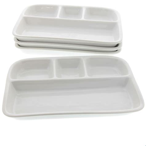 Dinner Tray by Divided Tv Dinner Tray White Stoneware Set Of 4 Vintage