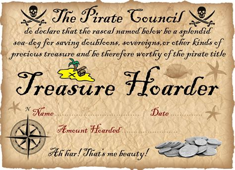 pirate certificate treasure hoarding award rooftop post