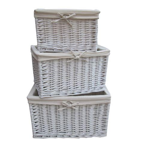 White Wicker by White Wicker Rectangular Storage Basket
