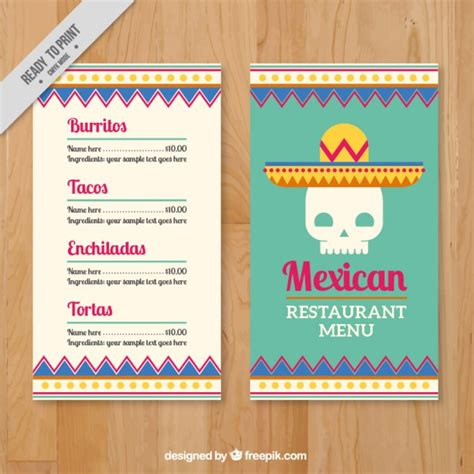 menu template with mexican skull vector premium