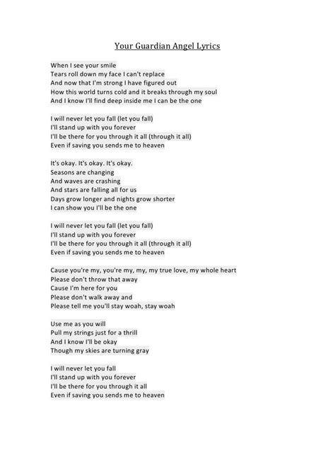angle song your guardian angel lyrics
