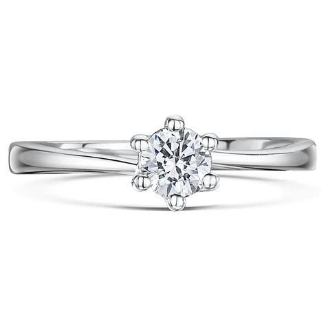 9ct white gold quarter carat six claw solitaire