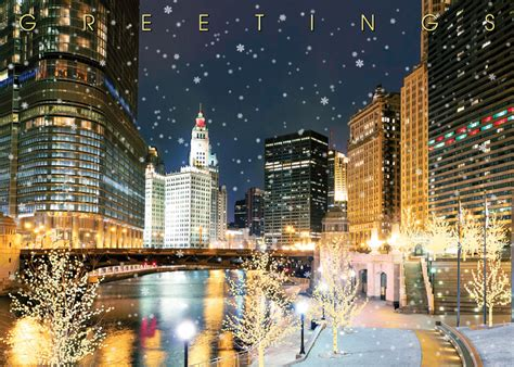 chicago river christmas card chicago christmas holiday cards