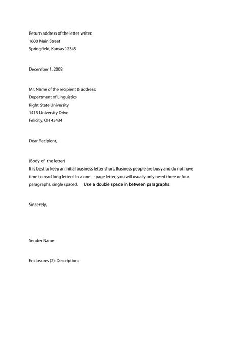 Business Letter Format Outline 35 formal business letter format templates exles
