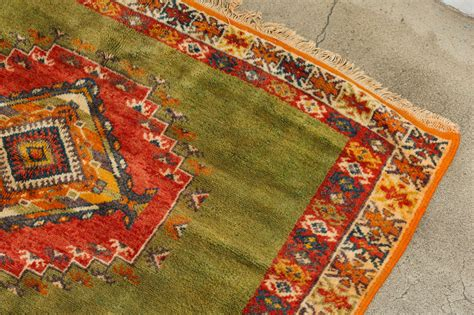 orange green rug vintage moroccan tribal green and orange rug for sale at 1stdibs