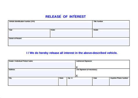 Release Of Interest Letter Free Sle Release Of Interest Form 12 Free Documents In Pdf Word