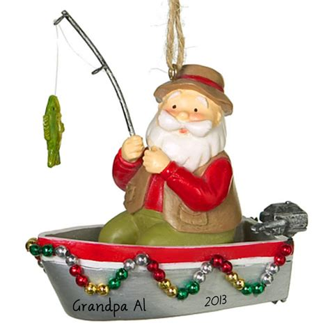 boat ornament decorated boats for christmas fishing boat santa