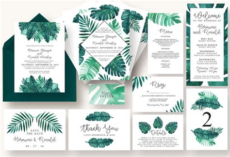 21 Printable Wedding Menu Cards Free Psd Vector Eps Png Format Download Free Premium Tropical Menu Template Free