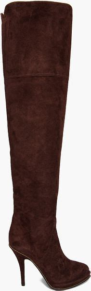 givenchy zip suede thigh high boots in brown lyst