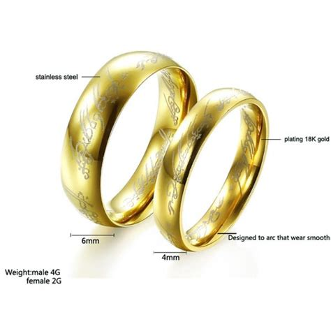 buy 18k gold plated lord of the rings lotr ring stainless