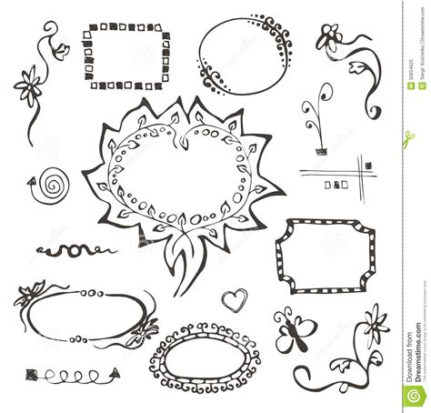 hand drawn vector tutorial frames and design elements collection hand drawn royalty