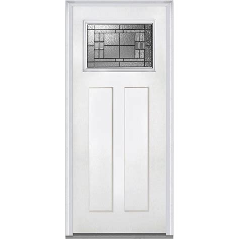 2 4 Exterior Door Mmi Door 37 5 In X 81 75 In Decorative Glass Craftsman 1 4 Lite 2 Panel Primed