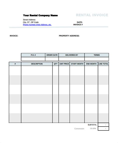 invoice template for rent using the rental invoice template in all formats for your