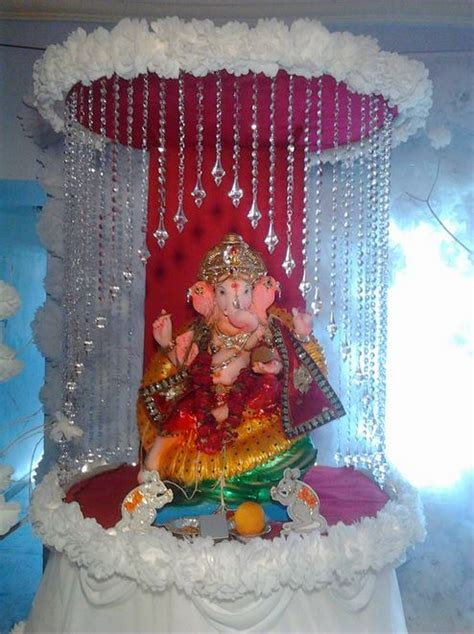 ganpati decoration at home ganpati decoration decoration for pooja pinterest