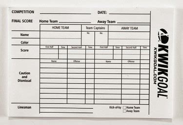 soccer referee score card template soccer scoring sheet free printables redefined