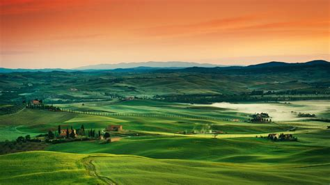 wallpaper tuscany   wallpaper  italy landscape village field sunset sky grass