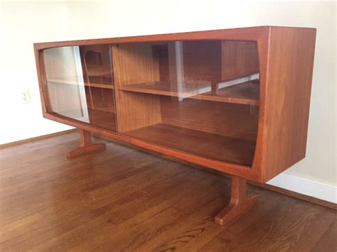 Danish Teak Sideboard with Glass Front Top Cabinet by Dyrlund   EPOCH