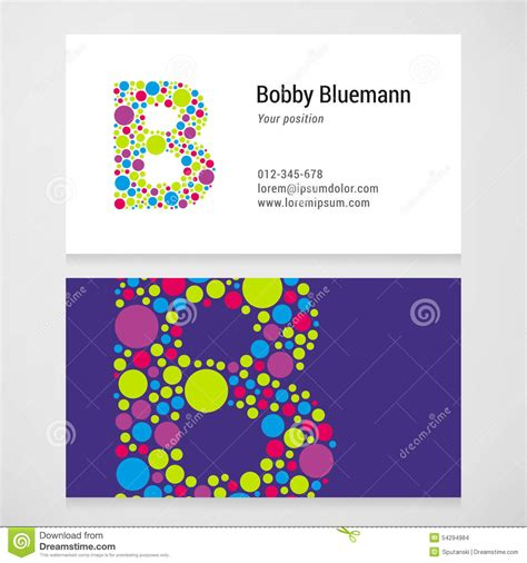 circle business card template modern letter b circle business card template stock vector
