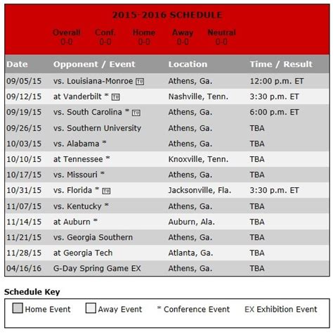 printable uga schedule georgia bulldogs football schedule wgow fm