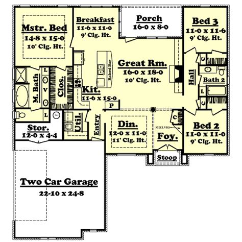 1800 square foot ranch house plans european style house plan 3 beds 2 baths 1800 sq ft plan