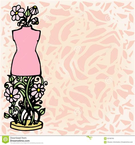 fashion illustration with background illustration mannequin tools for fashion design background stock vector image 59189784