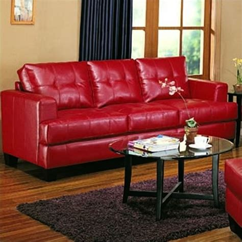 coaster samuel sofa coaster samuel modern tufted leather sofa in red 501831